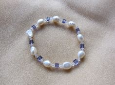 """Tanzanite Squared-7"""" stretchy bracelet with Grade A freshwater pearls, Swarovski crystal squares & bicone beads. Free shipping!"""