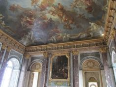 Versailles, France - the Versailles Palace, entrance before the state apartments.  The ceiling took 3 years to paint, with more than 140 figures.
