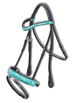 This bridle is a show stopper. Your choice of many beautiful Gator and Snake printed patten leathers. Turquoise and snake skin pictured. The bridle offers a padded brow band and  padded caveson providing a comfortable fit for your horse.  The Cavazon is contored to provide a better fit and more control.