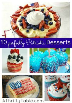 10 Perfectly Patriotic Desserts for your of July celebration Just Desserts, Delicious Desserts, Dessert Recipes, Yummy Food, Holiday Treats, Holiday Recipes, Holiday Fun, Fourth Of July Food, July 4th