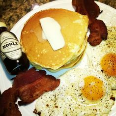 """""""Sexy breakfast for dinner with Bourbon Barrel aged #NobleMapleSyrup"""""""