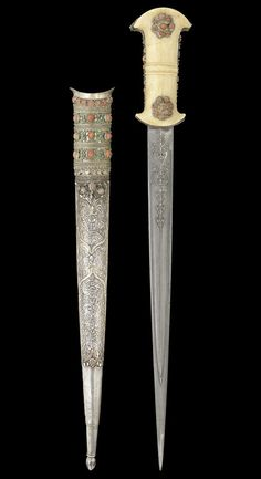 An Ottoman coral-set walrus ivory-hilted steel Dagger - Turkey
