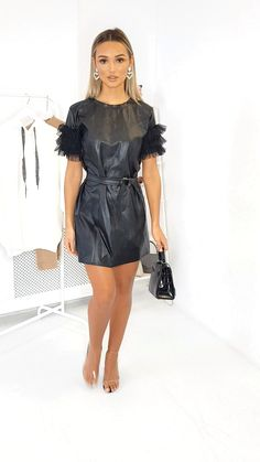 Kolina Faux Leather Mesh Sleeve Dress at ikrush Summer Fashion Outfits, Sexy Outfits, Sexy Dresses, Colorful Outfits, Vinyl Dress, Iranian Women Fashion, Fashion Videos, Leather Dresses, Hot Dress