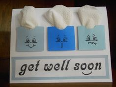 Get well soon card with little boxes of tissues