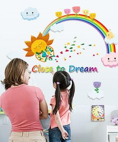 Kids Likes Rainbows also Lives in Colors. Make there Room Colourful Wall Stickers Girl Room, Custom Wall Stickers, Kids Room Wall Decals, Rainbow Wall, Boy Room, Rainbows, Acrylics, Nursery Decor, Wallpaper
