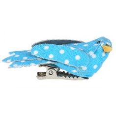 Oiseaux bleu turquoise à pois sur pince 4 cm, déco - Boîte de 2 Oiseaux petits bleu turquoise à pois blancs décoratifs en tissu sur pince, déco baptême, déco mariage, déco de table, déco festive, déco d'intérieur, Pâques, fêtes.