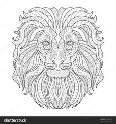 Coloring for adult anti-stress / lion head / King of the Jungle / zentangl style / template for greeting cards, T-shirts, invitations, tattoo