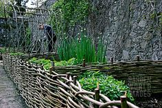 Raised bed made with small Willow Hurdles.