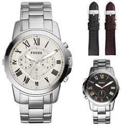 Fossil Boxed 'Grant' Reversible Bracelet & Leather Strap Watch Set
