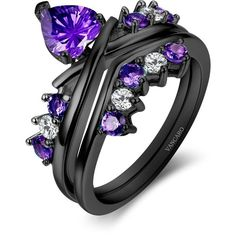 Black and Purple Wedding Ring for Women with Heart Cut CZ 925 Sterling... ($139) ❤ liked on Polyvore featuring jewelry, rings, purple heart ring, heart shaped wedding rings, sterling silver cz rings, cubic zirconia wedding rings and cz wedding rings
