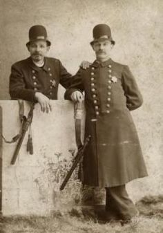 Two unidentified policemen. (1893-94) St. Louisans recently voted to return control of the police department to the city, thus ending 151 years of state oversight. When the Civil War started, Missouri governor Claiborne Jackson wanted control of the police in the hands of Confederate sympathizers like himself. So he decreed that the police would be overseen by a board of five commissioners, consisting of the St. Louis mayor and four of the governor's appointees. ©Missouri History Museum