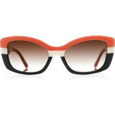 Prada D-frame acetate sunglasses (15.635 RUB) found on Polyvore featuring accessories, eyewear, sunglasses, glasses, prada, accessories - sunglasses, prada eyewear, metallic glasses, brown gradient sunglasses and acetate sunglasses