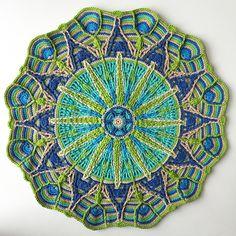 Crochet Overlay Mandala No. 6 by CaroCreated, in Catania cotton. A gift for my dear parents. Crochet Mandala Pattern, Form Crochet, Crochet Round, Crochet Home, Irish Crochet, Crochet Patterns, Crochet Afghans, Crochet Squares, Crochet Yarn