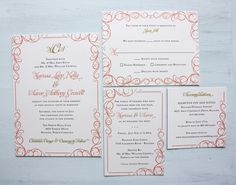 Coral Pink and Gold swirly scroll border wedding invitations