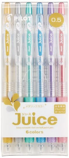 Pilot Gel Ballpoint Pen Juice 0.5, 6 Metallic Color Set (LJU-60EF-6CM)