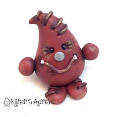 Faux Leather PAKER Polymer Clay Character Figurine by KatersAcres | Limited Edition of 2, Available for Adoption