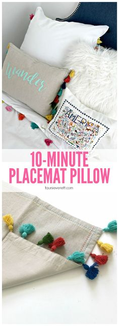 10 minute placemat pillows - perfect for updating a room!