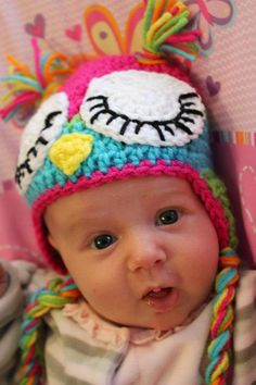 Sleeping owl crochet baby beanie - inspiration