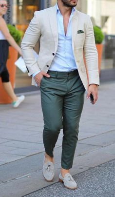 Mens Style Discover 69 Super Ideas How To Wear Loafers Men Casual Pocket Squares Blazer Outfits Men, Mens Fashion Blazer, Stylish Mens Outfits, Mens Fashion Blog, Suit Fashion, Men Blazer, Blazer Jacket, Green Blazer Mens, Fashion Sale
