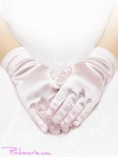 Pink Satin Wrist Gloves