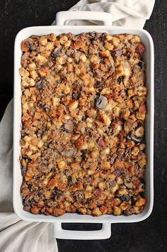 Sausage and Mushroom Stuffing for your Thanksgiving or Christmas Feast! from @Amy Johnson / She Wears Many Hats