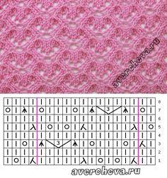 Узор 722 «ажурные ячейки»  каталог вязаных спицами узоров