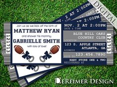 Sports Ticket Baby Boy Shower Invitation, Cowboys, Dallas, Football, Blue and Gray by DeReimer DeSign. $10