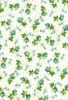 FABRIC SALE , Pretty Little Blue Roses , Vintage Chintz Cotton Fabric