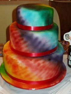 Just found my wedding cake!!!!Tie-dye Cake By alimonkey on CakeCentral.com