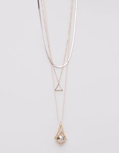Pull&Bear - woman - jewellery - pack of 3 necklaces - gold - 05993356-V2015