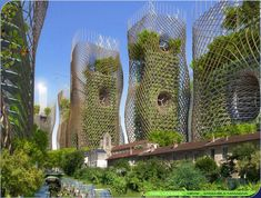 Bamboo Nest Towers from street level, Vincent Callebaut's 2050 Vision of Paris.
