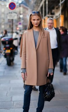 Anna Selezneva Street Style | Camel Coat & Denim | { Couture /// Effortless Style