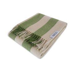 Wool Blanket with Stripes Pattern. White Green Blanket.  https://www.sugartrends.com/en/product/berlin/paz-de-alma/mantecas/homeware/wool-blanket-with-stripes-pattern