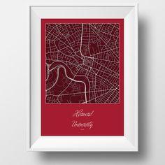 Harvard University and Area Street Map in Cambridge, Massachusetts Modern Minimalist Art Print Office or Home Wall Decor