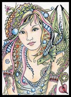 """Fairy Tangles: New ACEO Fairy """"Tangle"""" & her Dragon Friend"""