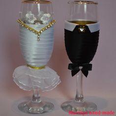 Украшаем свадебные бокалы своими руками