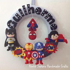 Guirlanda Porta de Maternidade tema Super Heróis para o Guilherme