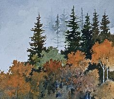 UTAH LANDSCAPES IN WATERCOLOR: Watercolor Painting .... Mountain Autumn .........