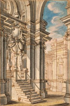 School of Bibiena family | An Archway Leading into a Courtyard | ca. 1770 | The Morgan Library & Museum