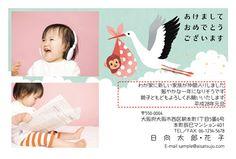 挨拶状ドットコムの写真年賀状♪   猿の赤ちゃんを運ぶコウノトリのデザインです。   #年賀状 #2016 #年賀はがき #デザイン #申年 #さる