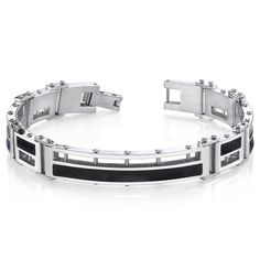 MSRP: $229.99  Our Price: $99.99  Savings: $130.00    Availability: Usually Ships in 5 Business Days    Item Number: SB4288    PRODUCT DESCRIPTION:    This stylish Stainless Steel bracelet will be a guaranteed favorite for your jewelry collection. The shiny black inlay accentuates the mirror finish of the links and creates a high-end jewelry vibe. The links are constructed with a combination of black inlay and highly polished Stainless Steel. The easy-to-wear folding clasp completes the look…