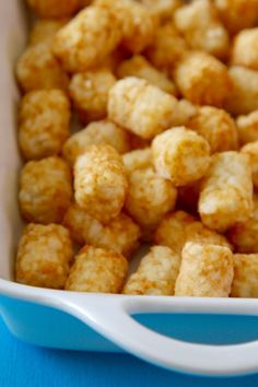whole Tater Tots in before crumbling them up while making a tater tot Breakfast Casserole