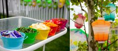 Cute idea for colorful kids party - putting food in matching colored bins