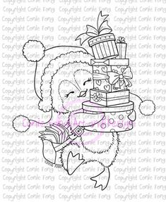 Digital Stamp, Digi Stamp, Snowy Delivery Presents by Conie Fong, Penguin… Hand Coloring, Coloring Books, Penguin Coloring Pages, Fun Crafts, Paper Crafts, Creation Art, Christmas Paintings, Digi Stamps, Embroidery Designs