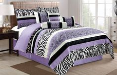 7 Pieces Purple Black White Grey Leopard Zebra Comforter (102'x92') Bed-in-a-bag Set (California) CAL KING Size Bedding * You can get more details by clicking on the image. (This is an affiliate link) #CozyHomeDecor
