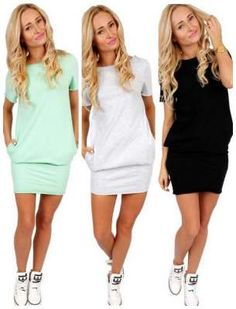Women's Short Sleeve Tunics With Pockets Cotton Dress great casual dress perfect for the summer! Or pair with leggings and wear it this fall too!