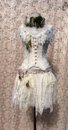 Ivory Lace Corset And Tattered Upsycled Skirt AAOK by KisKissay