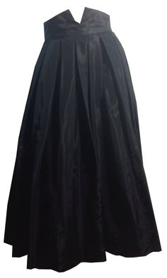 Gothy Peaked and Notched High Waist Black Taffeta Full Skirt circa 1950s