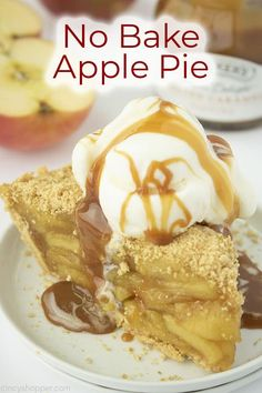 No Bake Apple Pie needs no oven to taste great! A graham cracker crust and homemade apple pie filling are all you need for this easy pie recipe. Easy Pie Recipes, Apple Pie Recipes, Baking Recipes, Graham Cracker Recipes, Homemade Graham Crackers, Easy Baked Apples, Homemade Apple Pie Filling, No Bake Pies, Oven