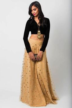 Black velvet scoop neck blouse, Biege net lengha with gold heart embellishment. Customization options: Lengha skirt color (indicate preference in note section during checkout) Estimated shipping: weeksCare instructions: Dry clean only Indian Outfits, Indian Clothes, Black Velvet, Lehenga, Bollywood, Scoop Neck, Spring Summer, Blouse, Celebrities